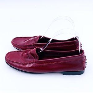 Tods Burgundy Penny Loafer Slip on Shoes 39